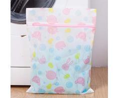 Demarkt 5 Stück Wäschenetz für Waschmaschine sowie Aufbewahrung, Bedruckter Wäschesack, Wäschebeutel aus Netzstoff Set mit Reißverschluss für empfindliche Wäsche (Wei?)