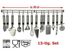 13 tlg Edelstahl Küchenhelfer-Set Hängeleiste Küchenutensilien Kochzubehör