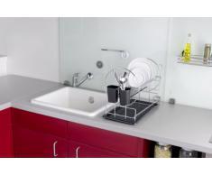 Wenko Geschirrabtropfer Premium Duo, Geschirr Abtropfständer für die Küche, Abtropfgestell mit Besteckkasten und Tellerständer, 50 x 36 x 24 cm, silber/schwarz