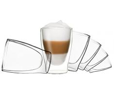 6x 310ml DUOS doppelwandige Gläser, Latte Macchiato Thermogläser - Set mit Schwebe-Effekt, auch für Tee, Eistee, Säfte, Wasser, Cola, Cocktails geeignet, DUOS by Feelino …