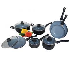 12-teiliges Kochset - Aluminium Topf- und Pfannenset mit Keramikbeschichtung - Schwarz/Grau