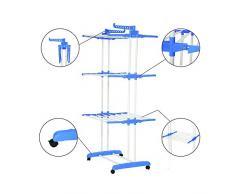 Alaskaprint Mobiler Wäscheständer Turmwäschetrockner Kleiderständer mit 4 drehbar Rollen und 3 Ablagen stabiler Trockenständer Edelstahl Wäscheturm Klappbar mit 2 Flügel ausziehbar in Blau
