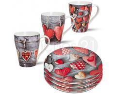 Frühstücksgeschirr Teller & Tassen Set mit Herzen & Holz Dekor 6-tlg. für 3 Personen Porzellan