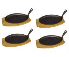Servierpfanne oval Gusseisen mit Holzuntersetzer - 4 Stück