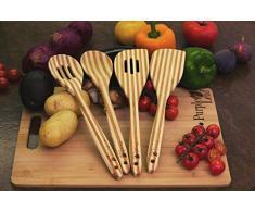 ♻ 4-teiliges Bambus Küchenset ♻ NEUES VERBESSERTES DESIGN! Küchenhelferset, Bambusutensilien, umweltfreundlich, hohe Qualität, Bambus Kochlöffel, Bambus Pfannenwender