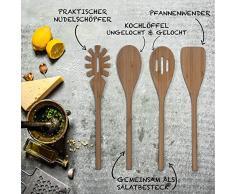 BASIL | Bambus Kochbesteck im 4er-Set | zum Kochen, Braten, Dünsten und Zubereiten | Kochlöffel - Nudelschöpfer - Pfannenwender - Küchenschaber - Salatbesteck - Küchenbesteck | inkl. Pflegeanleitung und Zufriedenheitsgarantie