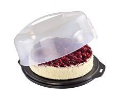Xavax Kuchen-Transportbox rund mit Deckel (Kuchenbehälter Ø 28,5 cm, Innenhöhe 8 cm, Kuchenbox mit Stückeinteilungshilfe, Haube und Servierfächern, Party- und Tortenbutler) Tortenplatte anthrazit