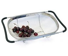Culina Abtropfsieb (Oval) Sieb über dem Spülbecken, Feines Edelstahl Netz, Ausziehbar