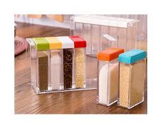 iTemer Gewürz-Box Kunststoff-Gewürz-Box Küchenbedarf Würzen Salz jar Gewürz Aufbewahrungsbox 6 Gewürze, 0.075 Liter,Grün/Transparent,Spice Box