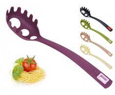 Spaghettilöffel mit Spaghettimaß - Spaghettiheber - Pastalöffel - Pastaheber - Nudelheber - Nudellöffel - Spaghettigreifer - Spaghetti, Farbe:Lila