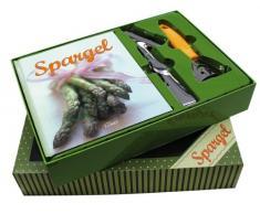 Buch-Box Spargel: Rezeptbuch plus Design-Spargelschäler und Servierzange
