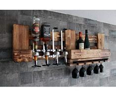 RUSTIKALE WANDBAR mit 4cl DOSIERSPENDER für Cocktails, Longdrinks,Vintage Wandregal Flaschenhalter groß aus Paletten Holz, Geschenk Vatertag Hausbar Landhausstil