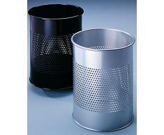Durable 331023 Papierkorb Metall rund 15 Liter, Perforation 165 mm, silber