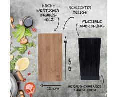 basil | Bambus Messerblock mit schonendem Borsteneinsatz | Holz Messerhalter & Universal Holzblock zur Messeraufbewahrung | Kunstoffborsten | Messer & Kochbesteck | geruchsfrei & spülmaschinenfest