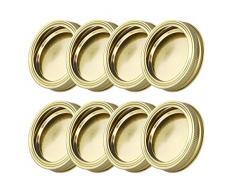 Agoky 8er Set 70mm Edelstahl Ersatzdeckel Schraubverschluss für Sturzgläser, Marmeladengläser, Einmachgläser, Regular Mouth Mason Jars Canning Jars Gold One Size