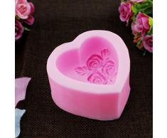 PsmGoods® 3D-Rosen-Herz-Silikon-Form-Behälter DIY Mould für Kuchen-Schokoladen-handgemachte Seife Backen-Werkzeuge