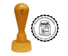 Stempel Adressstempel « HONIGGLAS » Durchmesser ca. Ø 40 mm - mit persönlicher Adresse und Motiv - Honig Glas Imker Imkerei Bienenhonig