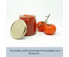 CR Produkte Marmeladengläser Set to 82 405ml mit Aufkleber | Einmachglas Konservenglas mit Deckel zum abfüllen, aufbewahren und befüllen | Optimal für Honig, Marmelade, Obst und Gemüse (Gold, 12)
