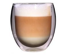 Feelino 1R XXL 400ml extra großes Teeglas und Kaffeeglas, Thermoglas mit Schwebe-Effekt auch für Latte Macchiato, Cappuchino, Milchkaffee, Tee, Eistee, Schorle, Desserts oder als Eisbecher geeignet