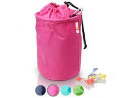 Amazy XXL Wäscheklammerbeutel – Extra-robuster Klammerbeutel mit Karabinerhaken zur Aufbewahrung von bis zu 200 Wäscheklammern für drinnen und draußen (Pink | 30 x 20 cm)