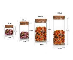 3 leere Glasbehälter Vorratsdosen Glas 1 Liter l Vorrats-Behälter Vorratsgläser mit Korken-Verschluss auch in 50 200 und 500 ml von slkfactory