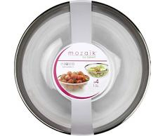 Salatschüssel, High-Class aus Plastik, Einweg - transparent/silber, Ø 20cm, 4 Stk.
