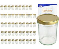 MamboCat 50er Set Sturzgläser 230 ml Hoch Deckelfarbe Gold to 66 inkl. Diamant Gelierzauber Rezeptheft, Marmeladengläser, Einmachgläser, Einweckgläser, Gläser