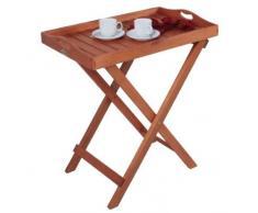 Tabletttisch Eukalyptus Holz Beistelltisch Tablett Stehtablett Serviertisch Gartentablett NEU