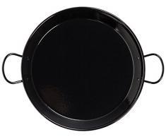 La Schale 36 cm, emaillierter Edelstahl induktionsgeeignet Paella-Pfanne mit Griffen aus Keramik, Schwarz