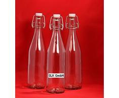 6 leere Glasflaschen mit Bügelverschluss 750 ml Bügelflasche Bügelverschlussflasche Flaschen leere Saftflaschen zum selbst Abfüllen 0,75 Liter l 75 cl Flasche Likörflasche Schnapsflaschen Essigflaschen Ölflaschen von slkfactory