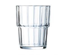 Arcoroc ARC 60024 Norvege Wasserglas, Saftglas, stapelbar, 200 ml, Glas, transparent, 6 Stück