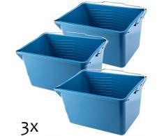 KADAX Farbeimer, eckiger Malereimer aus Kunststoff, Eimer mit Griff aus Metall, stabiler Wassereimer mit Gießrand, für Renovierung, Garten, Putzeimer, rechteckig, leicht (12L, 3 Stück, blau)