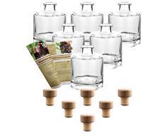 gouveo 6er Set Flasche Tom 200 ml inkl. Holzgriffkorken, Likörflaschen, Schnapsflaschen, Essigflaschen, Ölflaschen