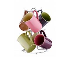 7-tlg. Tassen-Set mit Ständer - Keramik Tassen je 280 ml - Teetassen - Kaffeetassen - Geschirr - Tasse - Jumbotasse - Becher-Set - Tassenset