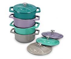 Navaris Mini Cocotte Topf Set - 4x Bratentopf klein mit Deckel - Bräter gusseisen ofenfest induktionsgeeignet - Braeter Pot rund Schmortopf