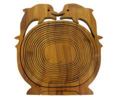 DELPHIN DELFIN FISCH FLIPPER Faltkorb Holzkorb Bamboo Korb Schale Klappkorb ca. 30 x 30 cm Bambusholz Bambus Obstkorb Dekoschale Obstschale Holz faltbar Gemüseschale Obstteller auch als Untersetzer Falttechnik platzsparende Aufbewahrung