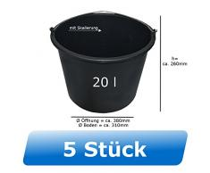 5x Baueimer DEWEPRO® - Mörteleimer - Putzeimer - extra stabil mit Henkel und Skalierung - 20l, 20 Liter