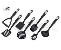 FACKELMANN Küchenhelfer-Set Sense, Kochbesteck aus hochwertigem Kunststoff mit langlebigem und rutschfestem Soft-Touch-Griff, (Farbe: Schwarz/Silber), Menge: 1 x 7er Set