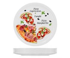 6er Set Pizzateller Margherita groß - 30,5cm Porzellan Teller mit schönem Motiv - für Pizza / Pasta, den großen Hunger oder zum Anrichten geeignet