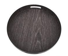 Tablett rund Holzfunier Design Kunststoff 4x33x33cm natur (Wenge)