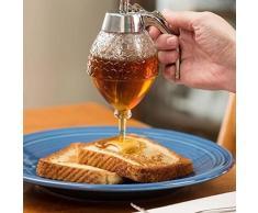 SODIAL 200 ML Honig Dispenser Glas Container Tasse Saft Sirup Wasserkocher Kueche Bee Drip Staender Halter Tragbare Kueche Acryl Lagerung Topf