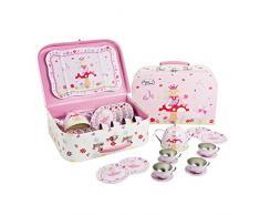 Feen Teeservice im Koffer - 14 Stück Tee Set aus Metall für Mädchen - LUCY LOCKET