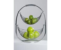 Designer-Obstkorb Früchtekorb Etagere Obstschale Shaky aus Metall silber verchromt 45 cm hoch