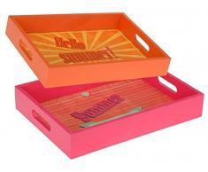 2er SET Holz Tablett mit Griff - Pink/Orange - Frühstückstablett - Holztablett - Betttablett - Serviertablett - Servierplatte - Deko-Tablett - Kiste