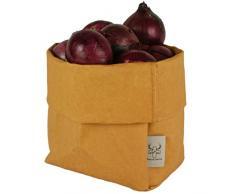 bun-di Swiss KREMPELBOX L - als Brotkorb, Obstkorb, Deko-Übertopf, Utensilo, Aufbewahrungskorb, Geschenkbox - Waschbares Papier mit Lederoptik/Veganes Leder - ca. 15cm Ø (Sand)