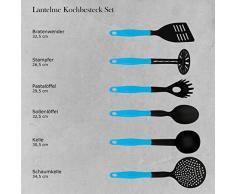 Lantelme Kochbesteck Set 6 teilig Küchenhelfer hellblau schwarz Kochgeschirr Hitzeresistent Spülmaschinengeeignet 7633