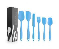 Silikon Spatel, Silikon Küchenutensilien Hochwertige Hitzebeständige, Antihaft-Küchenbackwerkzeuge Küchenhelfer Set, Küchenhelfer Utensilien Sets Silikon Spatel-6Pcs Red (Blau)