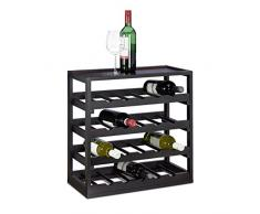 Relaxdays Weinregal aus Holz H x B x T: ca. 52 x 52 x 25 cm robustes Flaschenregal für Wein Weinflaschenregal in edlem schwarz Weinflaschenhalter mit 4 Ebenen für 20 Flaschen Flaschenhalter, schwarz