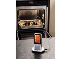 Xavax Digitales Funk Bratenthermometer (mit Küchenuhr, tragbarer Funkempfänger im Handy Format, Grillthermometer, Ofenthermometer, Milchthermometer Fleischthermometer) silber