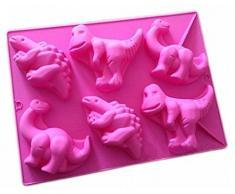FantasyDay® 6er Silikon Backform / Muffinform für Muffins, Cupcakes, Kuchen, Pudding, Eiswürfel und Gelee - Karton Dinosaurier